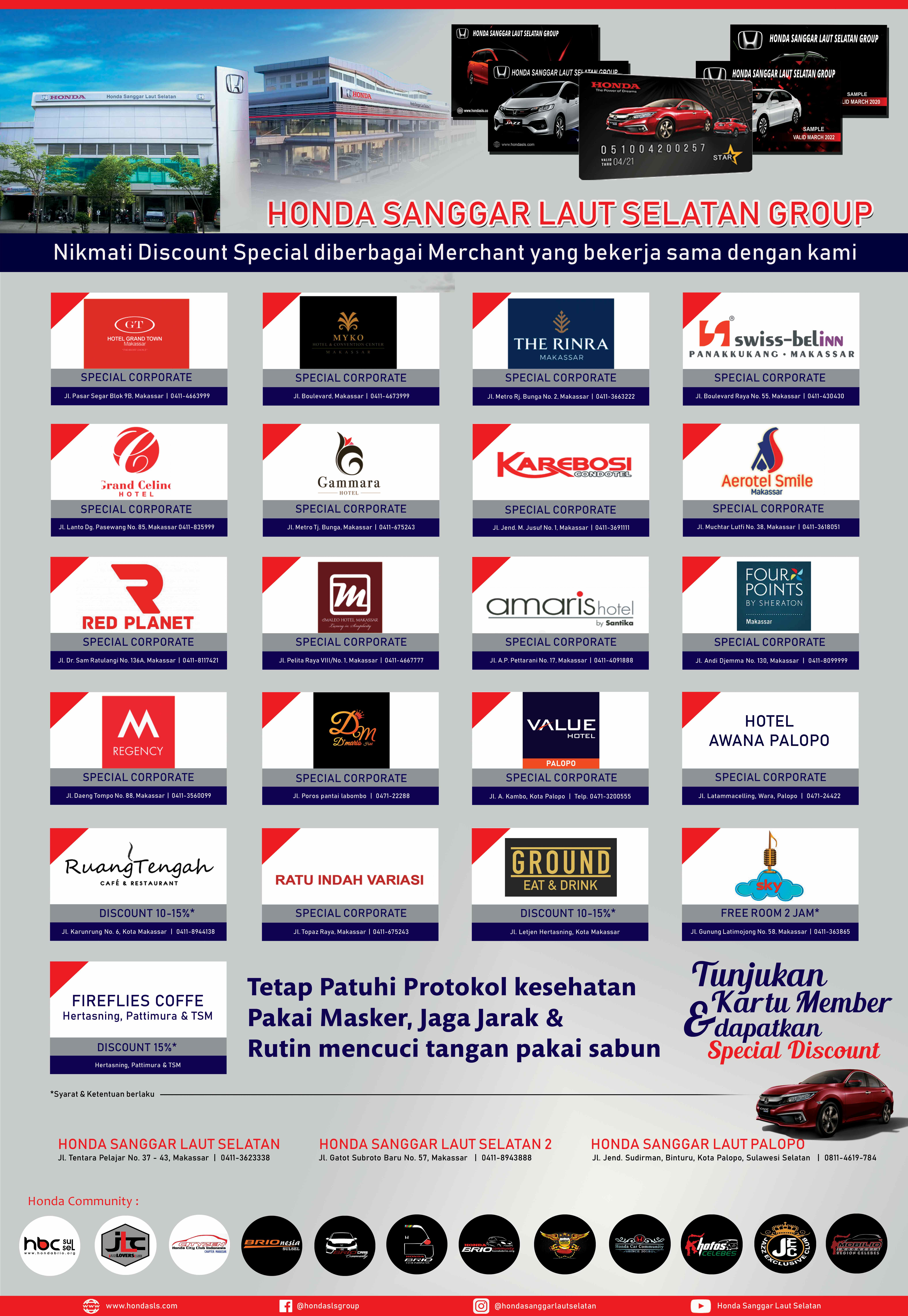 Diskon Outlet/Merchant Khusus member Honda SLS Group